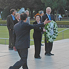 ICNND Co-chairs Prof Gareth Evans and Ms Yoriko Kawaguchi and Dr Tadatoshi Akiba, Mayor of Hiroshima with ICNND Commissioners and Advisory Board Members, laying of wreath at the Hiroshima Peace Park.
