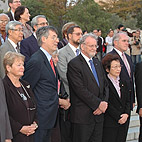 Group photograph: Hiroshima Peace Park, ICNND Commissioners, Advisory Board Members and Australian and Japanese Secretariats.